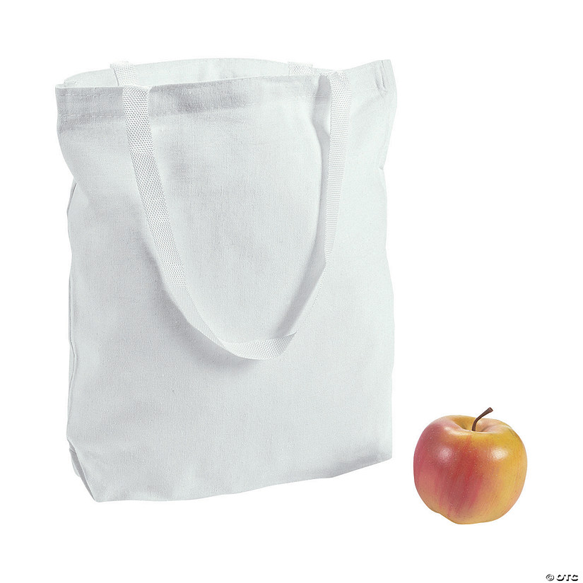 DIY Large White Canvas Tote Bags - 48 pcs.