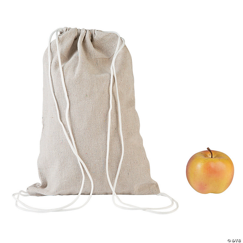 DIY Medium Natural Canvas Drawstring Bags - 12 pcs. Image Thumbnail