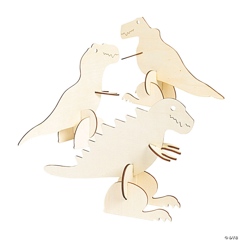 DIY Unfinished Wood 3D Dinosaurs Image Thumbnail