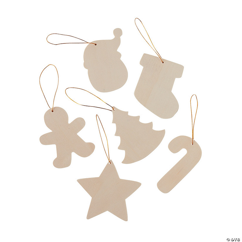 DIY Unfinished Wood Christmas Ornaments Image Thumbnail