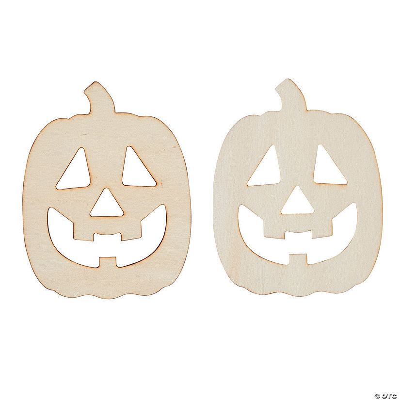 DIY Unfinished Wood Jack-O'-Lantern Shapes Image Thumbnail