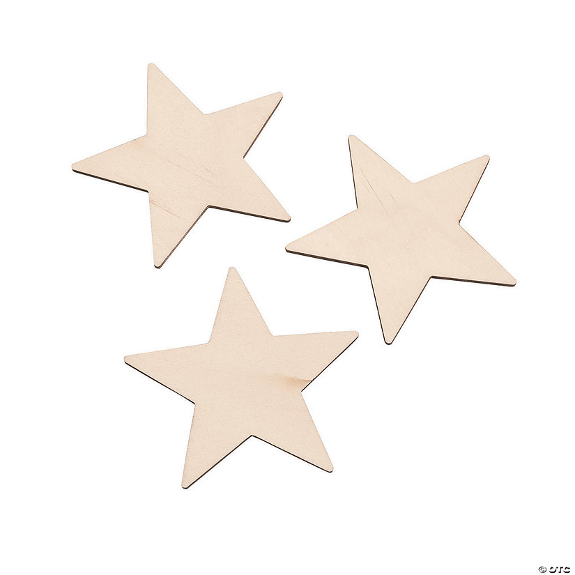 DIY Unfinished Wood Star Shapes Image Thumbnail