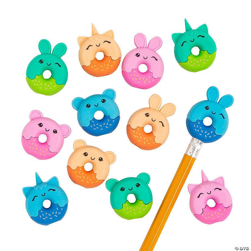 Donut Animal Eraser Pencil Toppers - 24 Pc. Image Thumbnail