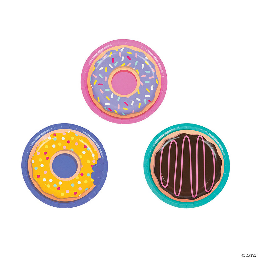 Donut Party Paper Dessert Plates - 8 Ct. Image Thumbnail