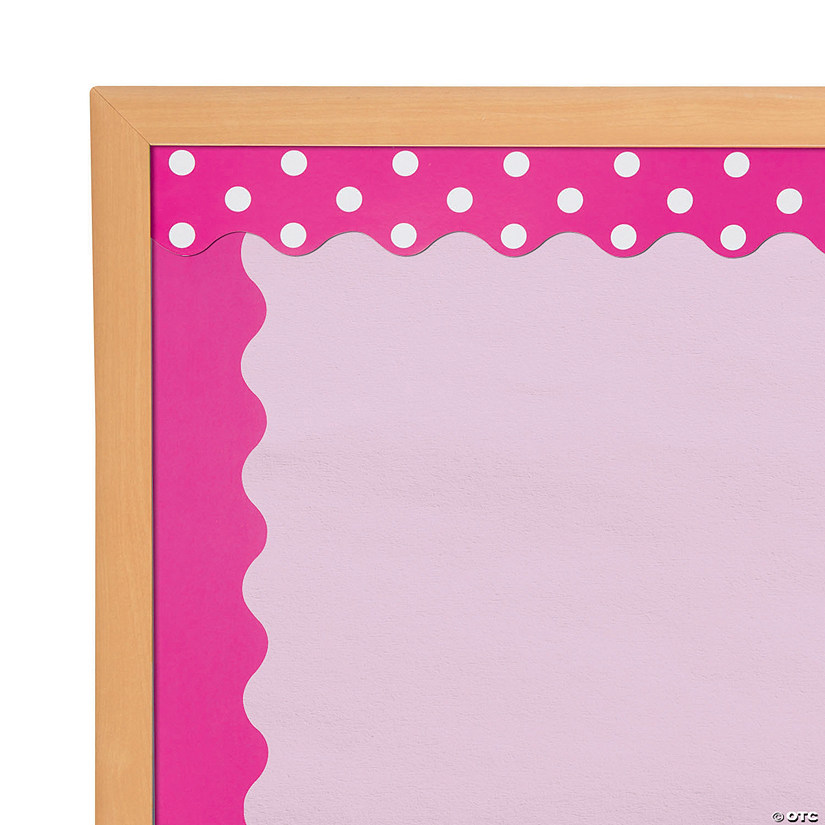 Double-Sided Solid & Polka Dot Bulletin Board Borders - Hot Pink Audio Thumbnail