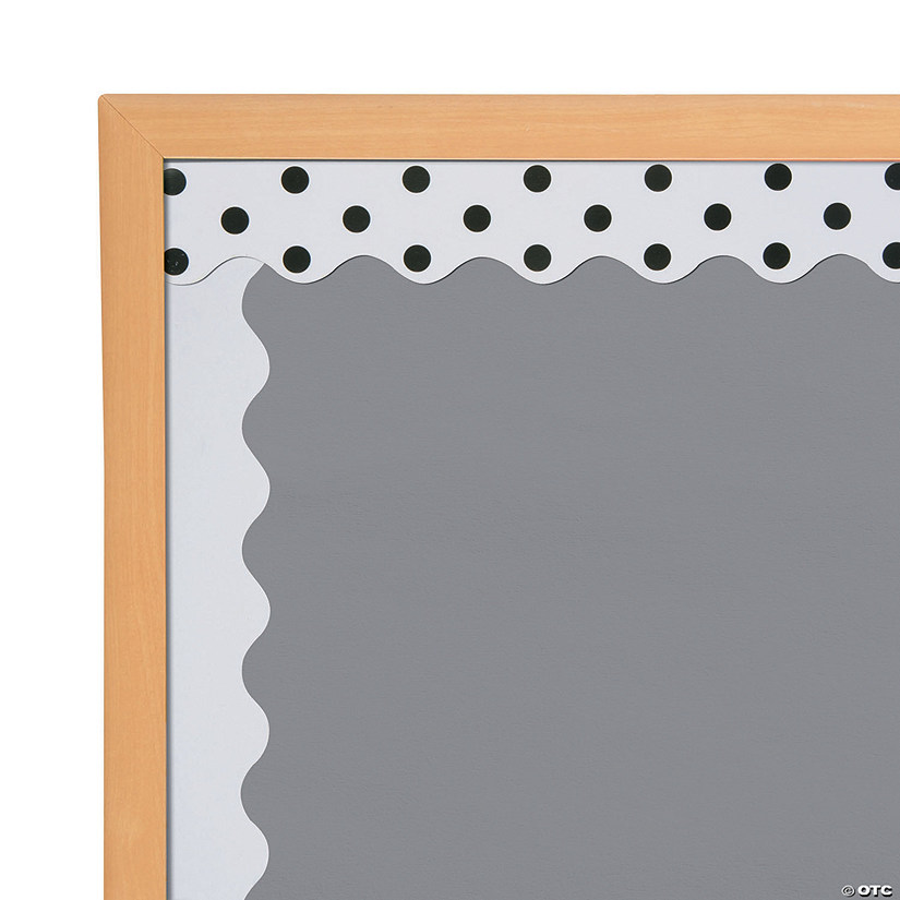 Double-Sided Solid & Polka Dot Bulletin Board Borders - White Audio Thumbnail