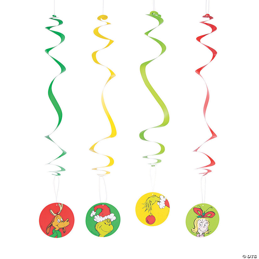 Dr. Seuss™ The Grinch Hanging Swirl Decorations - 12 Pc. Audio Thumbnail