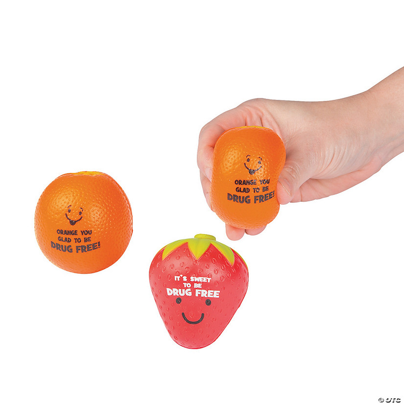Drug Free Fruit Character Stress Toys