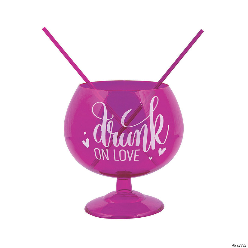 Drunk on Love Plastic Fishbowl Glass with Straws Image Thumbnail