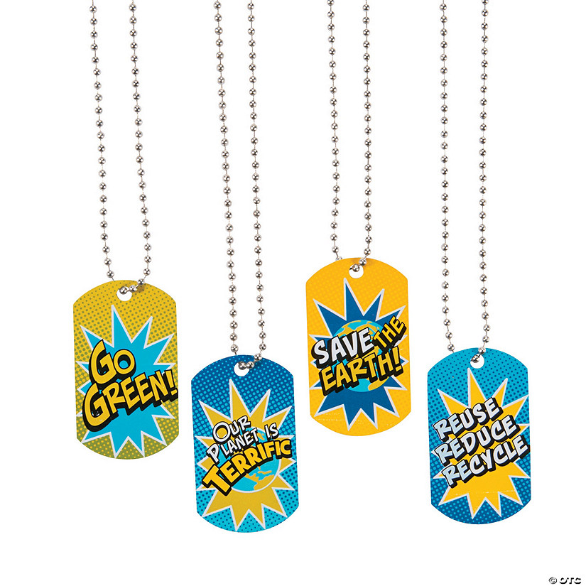 Earth Day Dog Tag Necklaces Image Thumbnail