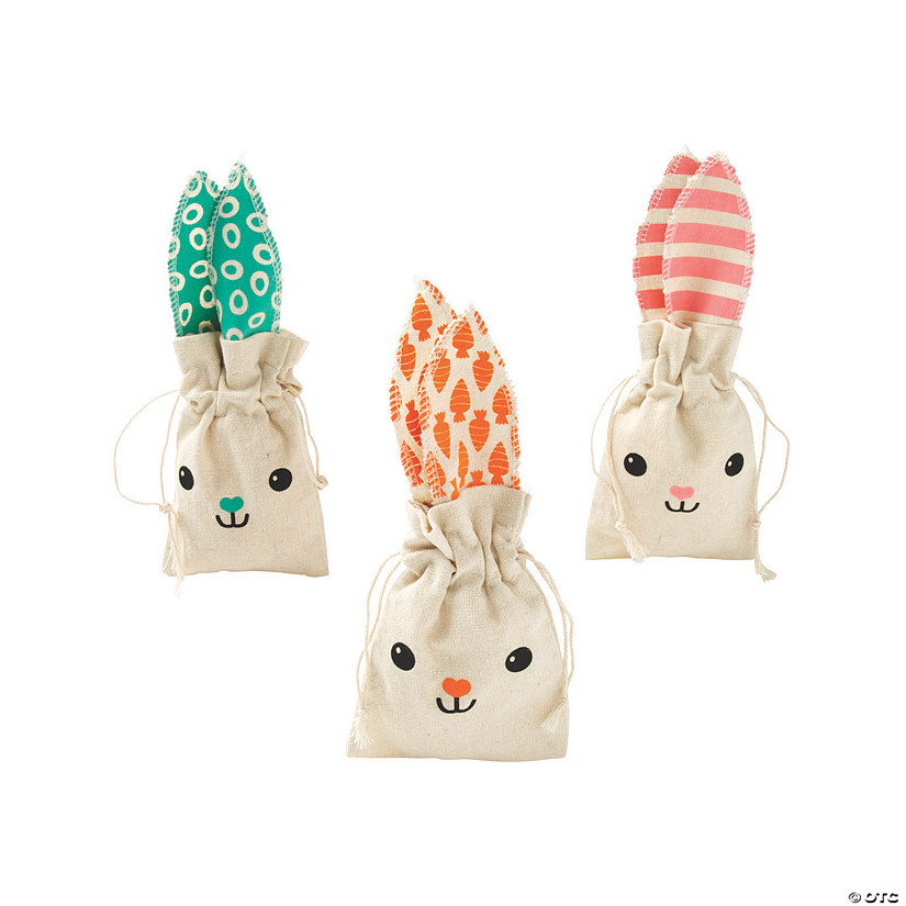Easter Bunny Canvas Drawstring Treat Bags Image Thumbnail