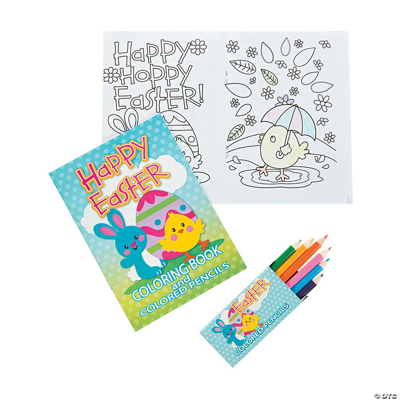 Easter Coloring Book with Colored Pencils
