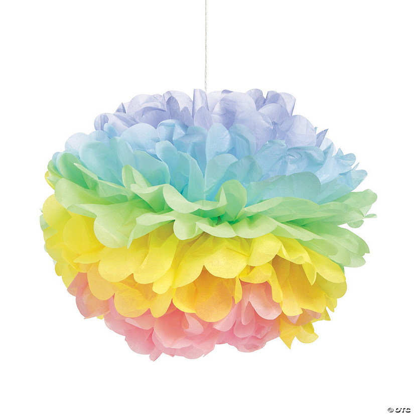 Easter Tissue Paper Pom Pom Hanging Decorations