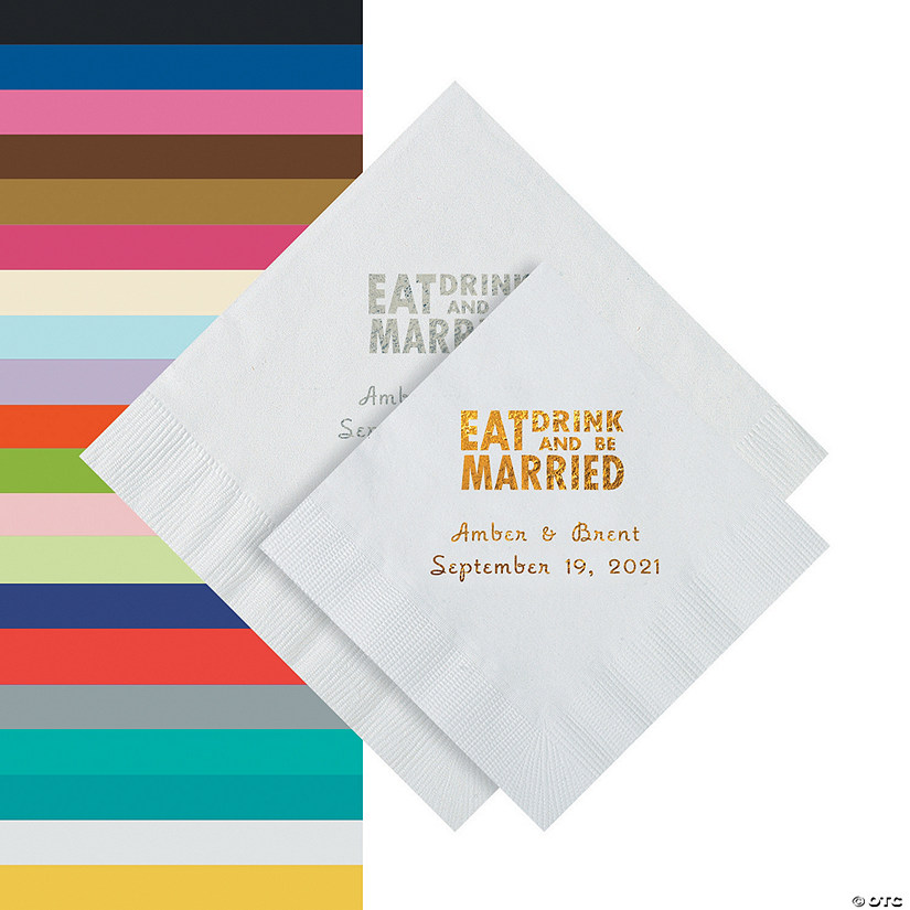 Eat Drink & Be Married Personalized Napkins - Beverage or Luncheon