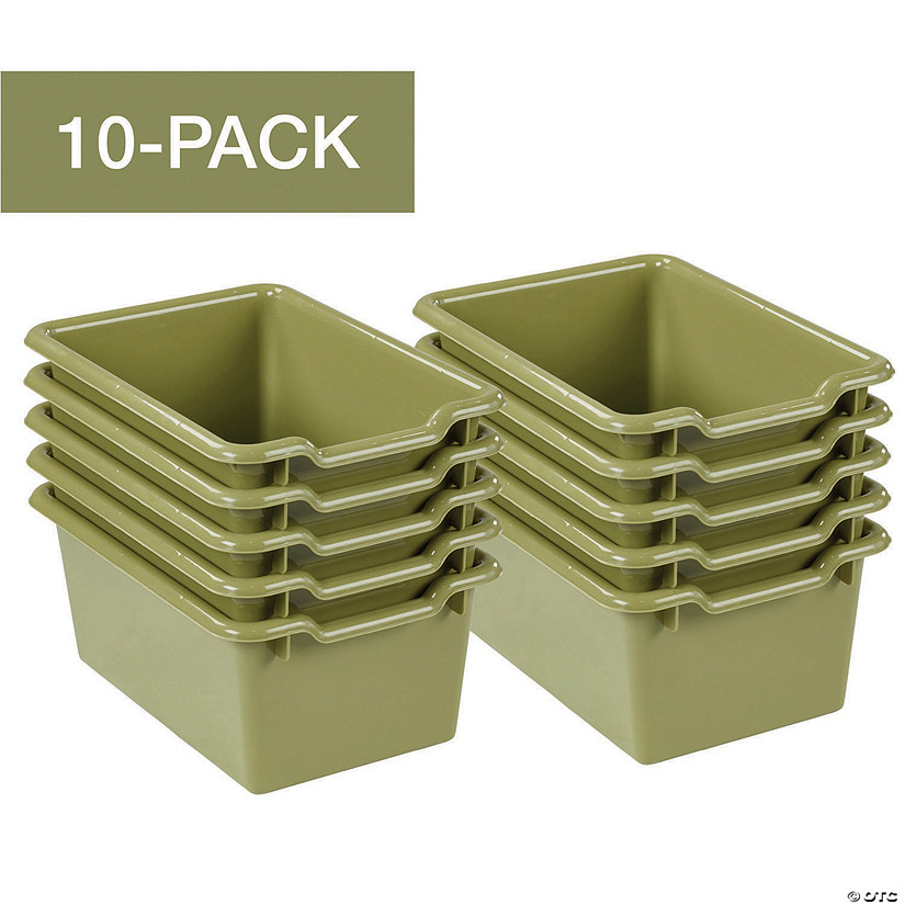 ECR4Kids Scoop-Front Storage Bins, 10-Pack, Fern Green Audio Thumbnail
