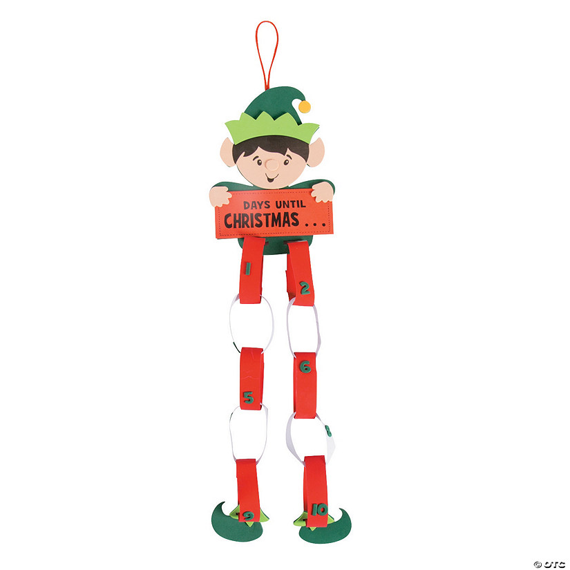 elf christmas countdown paper chain craft kit - Elf Christmas Decorations