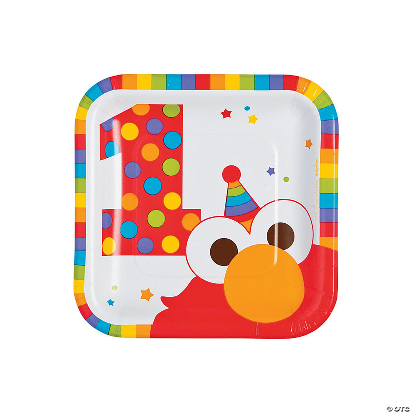 Elmo Turns One Square Paper Dessert Plates