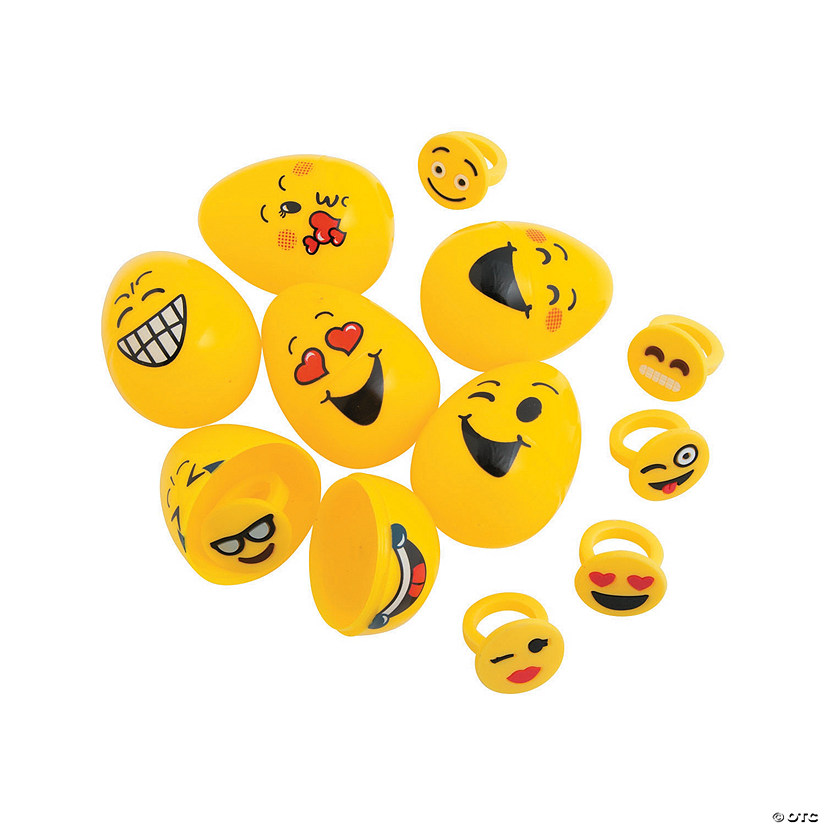 Emoji Ring-Filled Plastic Easter Eggs - 12 Pc. Audio Thumbnail