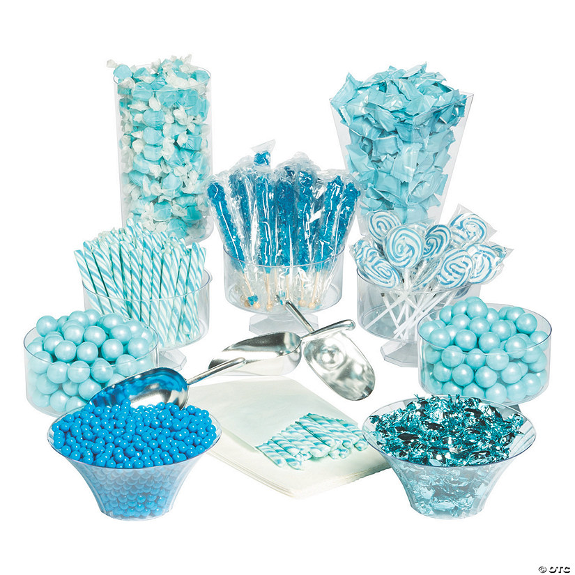 extra large blue candy buffet kit oriental trading rh orientaltrading com teal and gold candy buffet coral and teal candy buffet
