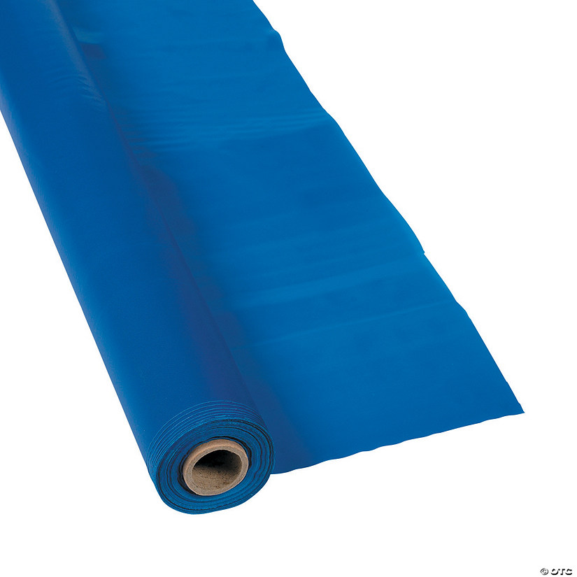 Extra Long Blue Plastic Tablecloth Roll Audio Thumbnail