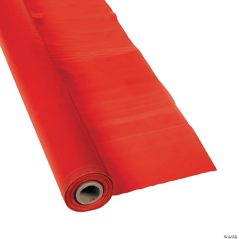 Extra Long Red Plastic Tablecloth Roll Audio Thumbnail