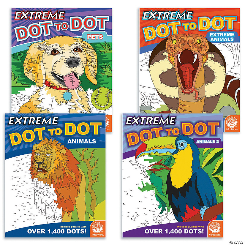 Extreme Dot to Dot: Animals Set of 4