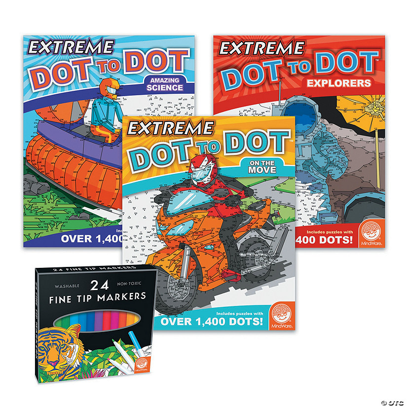 Extreme Dot to Dot: Spirit of Adventure Set of 3 with FREE Markers