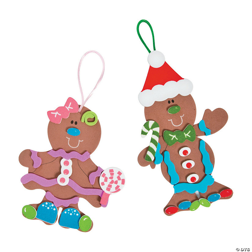 fabulous foam gingerbread christmas ornaments makes 12 - Gingerbread Christmas Decorations
