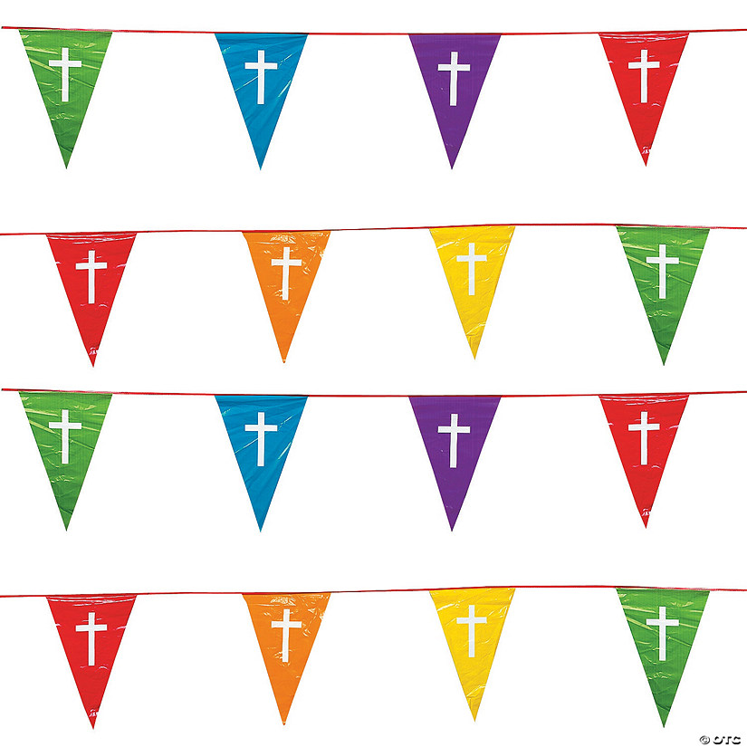 Faith Colors of the Rainbow Plastic Pennant Banner