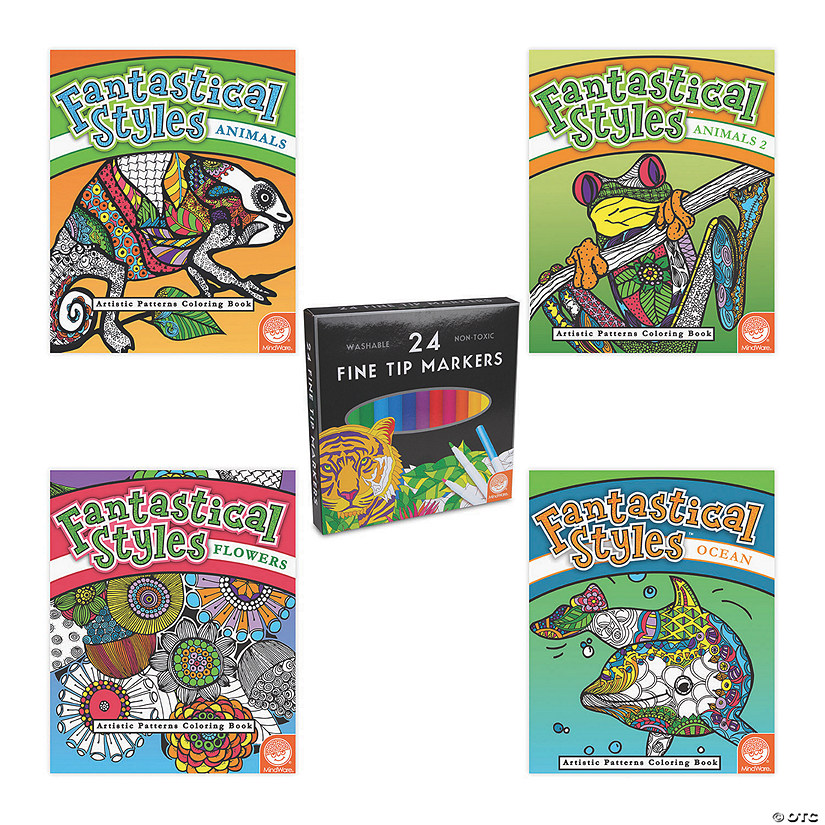 Fantastical Styles Coloring Books with FREE Markers Image Thumbnail