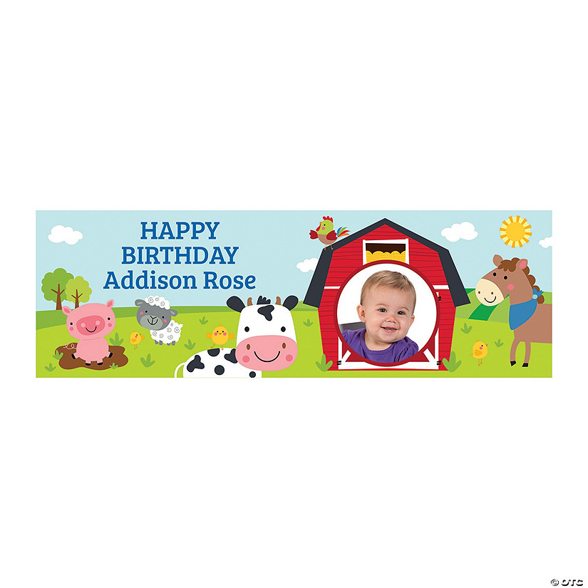 Farm Friends 1st Birthday Photo Custom Banner Image Thumbnail