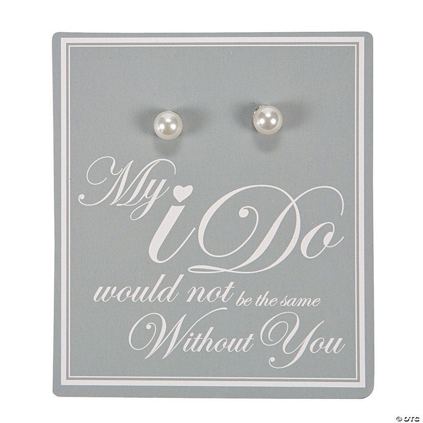 Faux Pearl Bridesmaid Earrings with Card Set