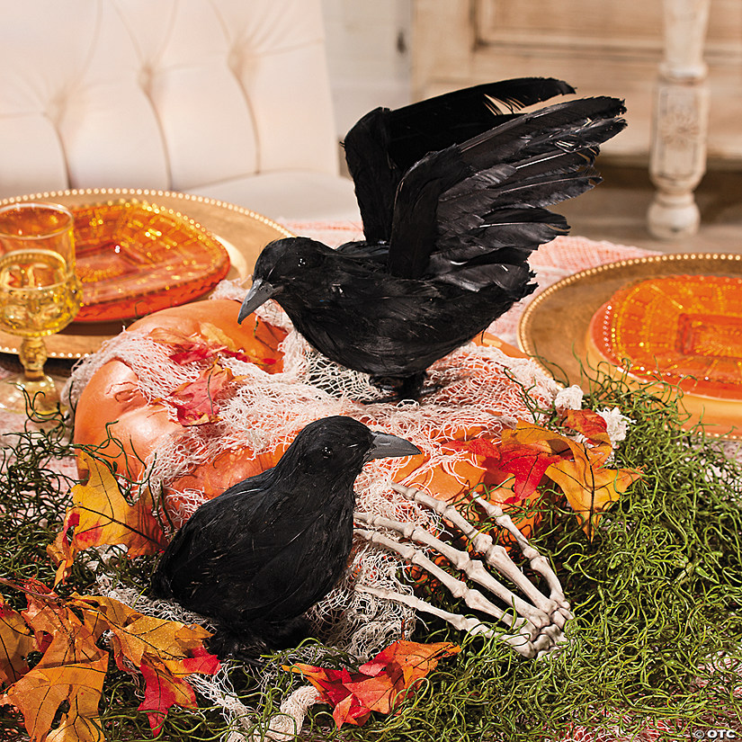 Feathered Crows Halloween Décor