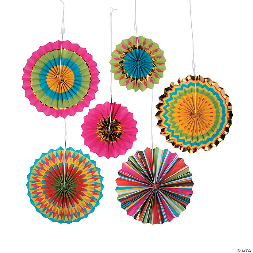 Fiesta Hanging Paper Fan Decorations Image Thumbnail