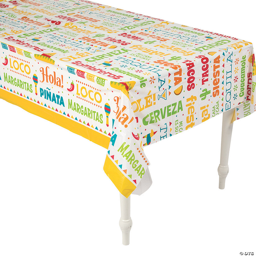 Fiesta Words Plastic Tablecloth