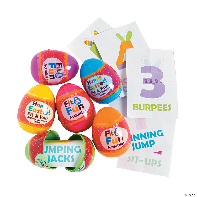 Fit & Fun Activity-Filled Plastic Easter Eggs - 12 Pc. Image Thumbnail