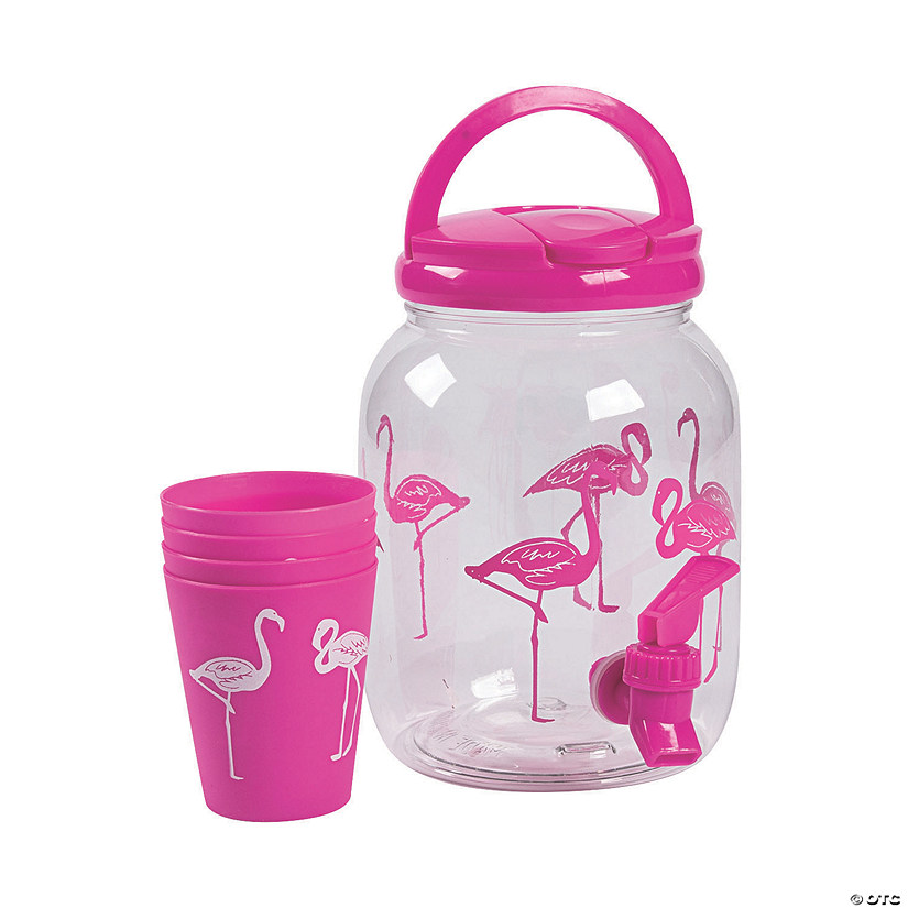 Flamingo Drink Dispenser with Cups Image Thumbnail