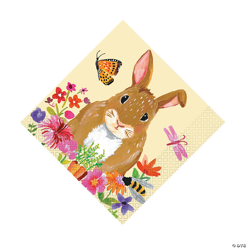 Floral Easter Bunny Luncheon Napkins Audio Thumbnail
