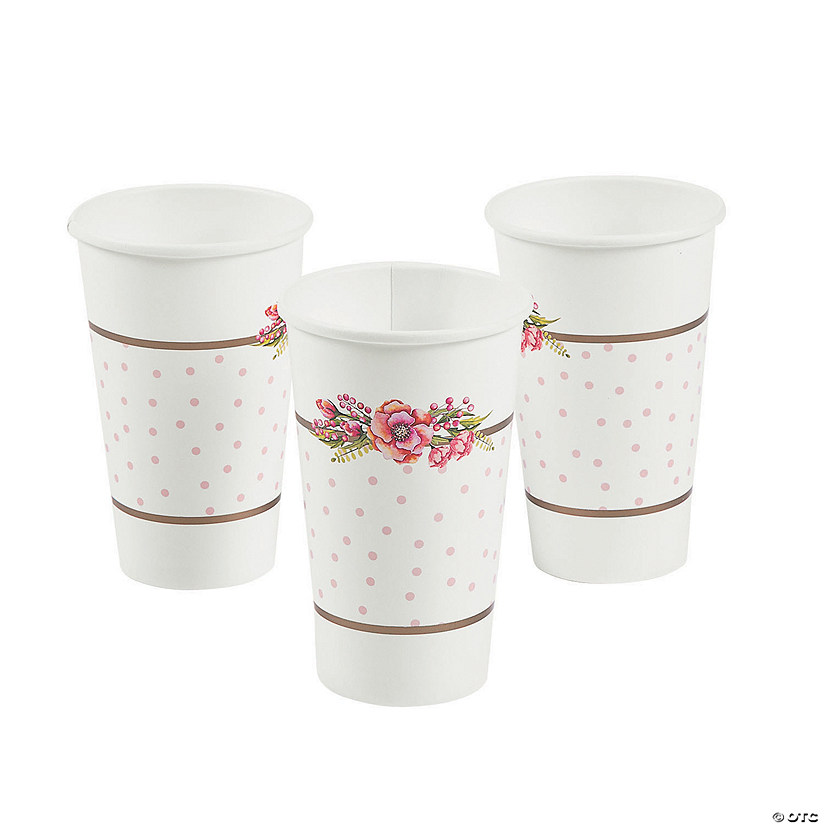 Floral Plaid Bridal Shower Paper Cups