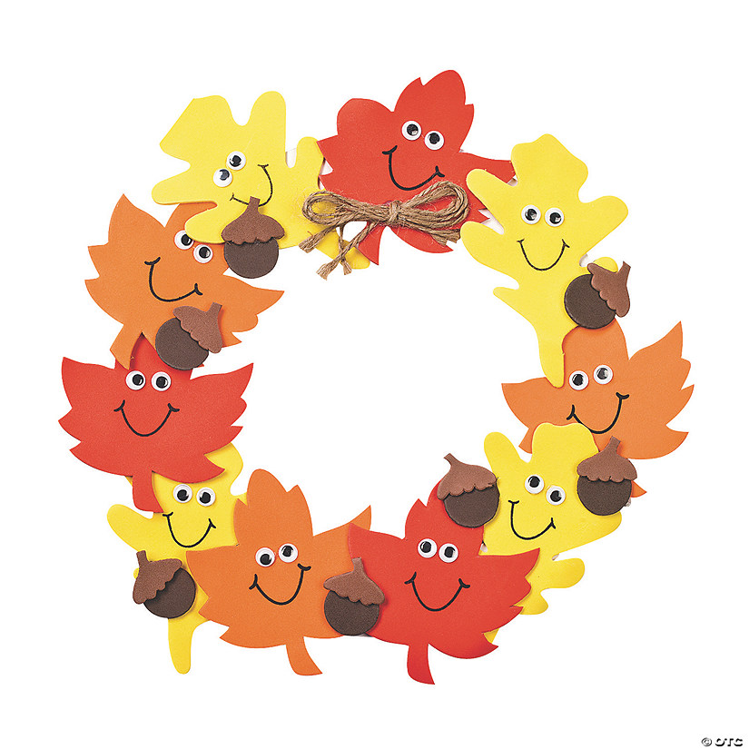 Foam Smile Face Leaves Wreath Craft Kit Image Thumbnail