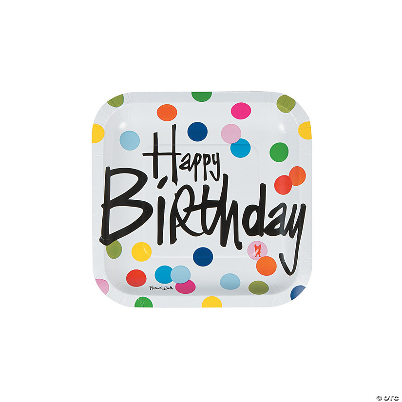 French Bull® Birthday Dots Square Paper Dessert Plates