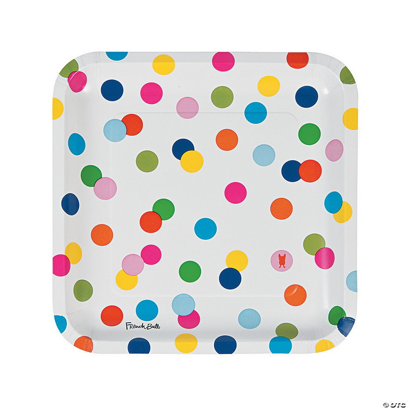 French Bull® Birthday Dots Square Paper Dinner Plates