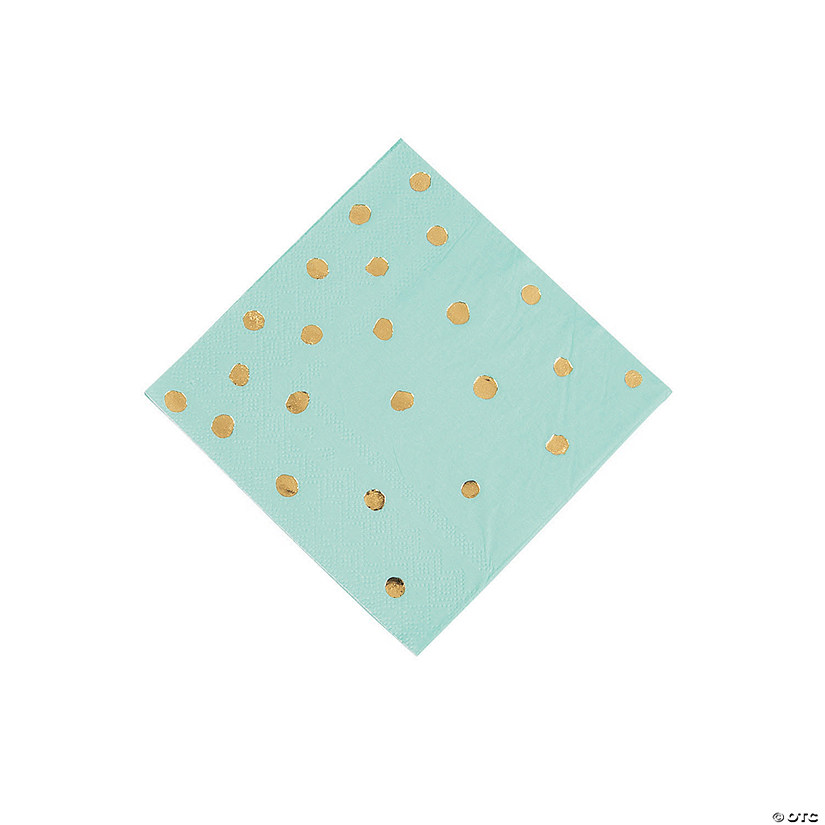 Fresh Mint & Gold Foil Polka Dot Beverage Napkins