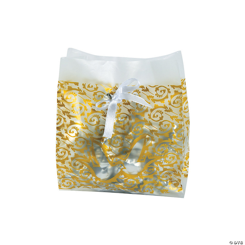 Frosted Gold Wedding Treat Bags