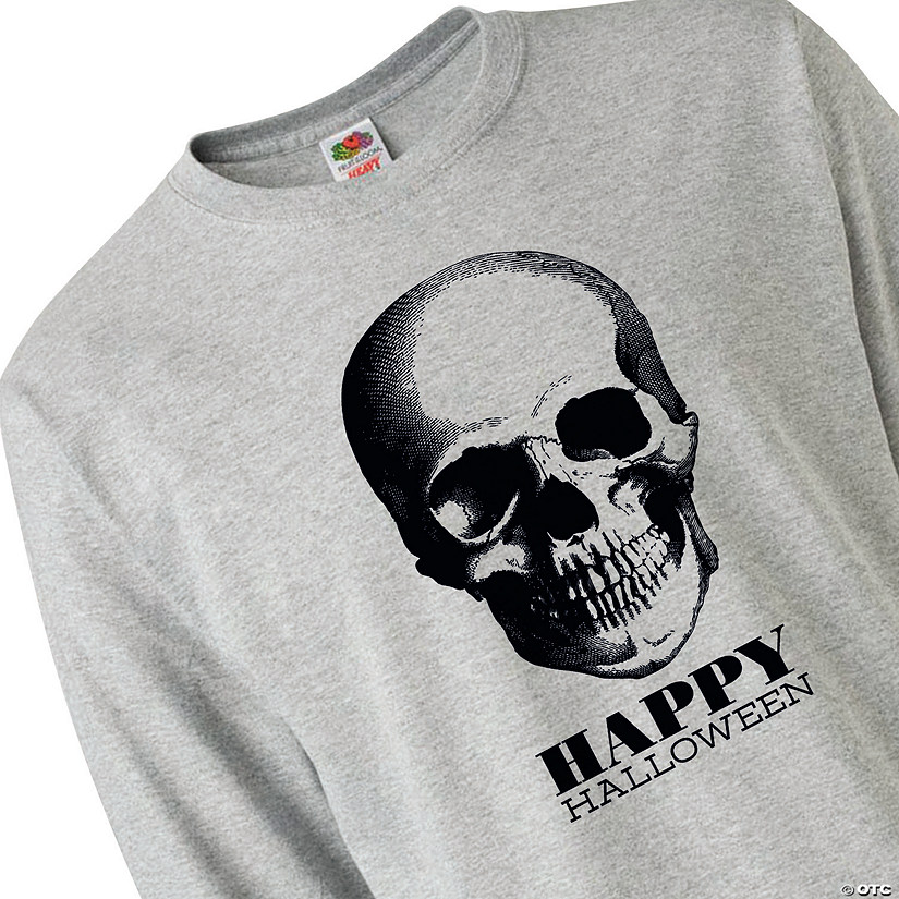 Fruit of the Loom<sup>&#174;</sup> HD Cotton<sup>&#8482;</sup> Adult&#8217;s Long-Sleeve Halloween Skull T-Shirt Audio Thumbnail
