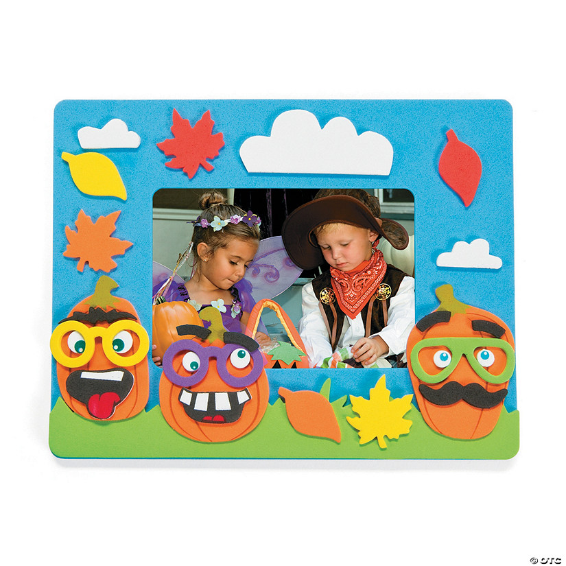 Funny Face Pumpkin Picture Frame Magnet Craft Kit Image Thumbnail