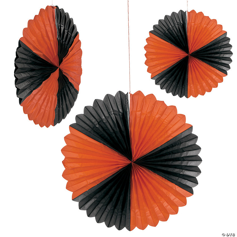 Giant Tissue Orange & Black Hanging Tissue Fan Halloween Décor Audio Thumbnail