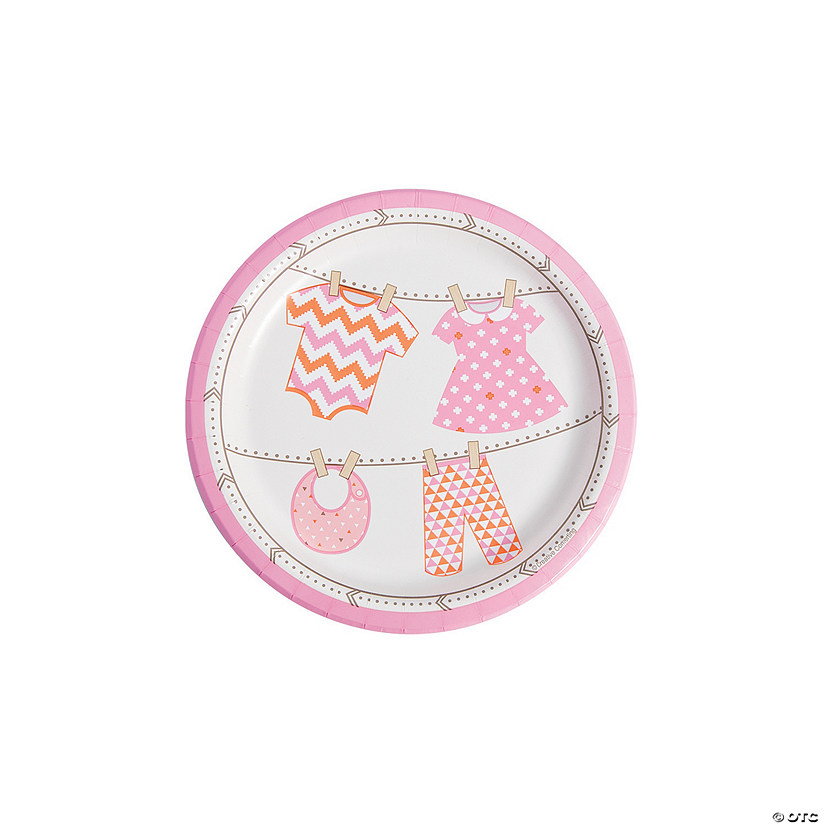Girl Baby Clothes Paper Dessert Plates