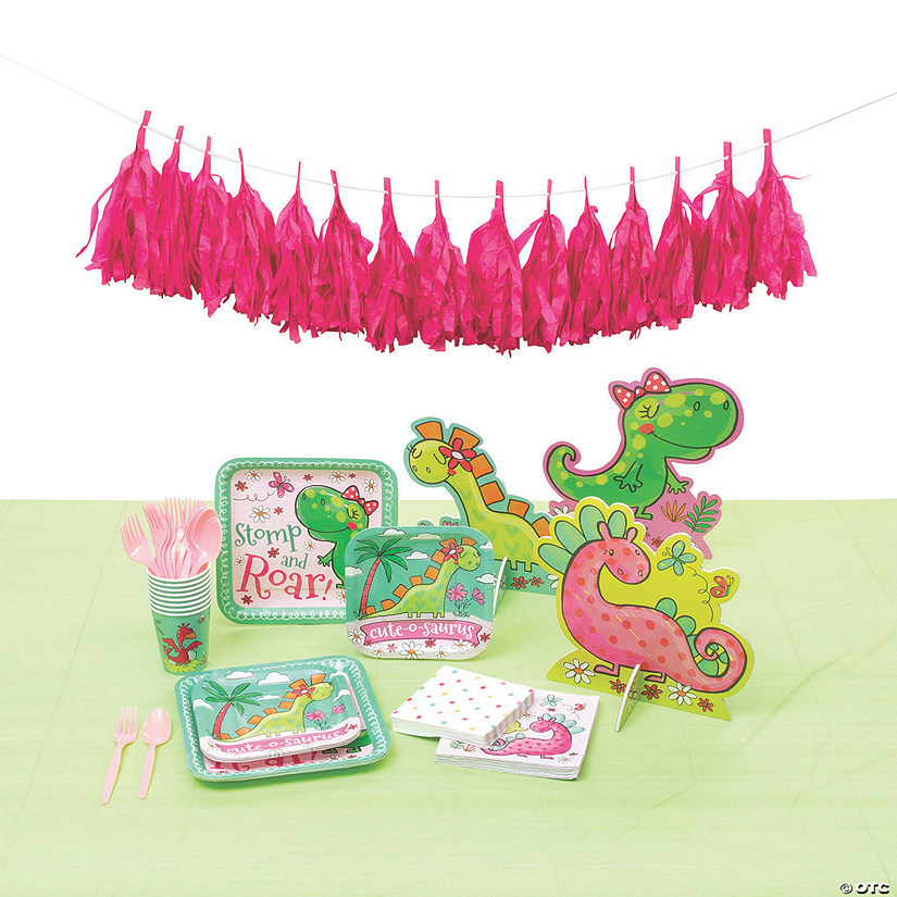 Girl Dinosaur Tableware Kit for 8 Image Thumbnail