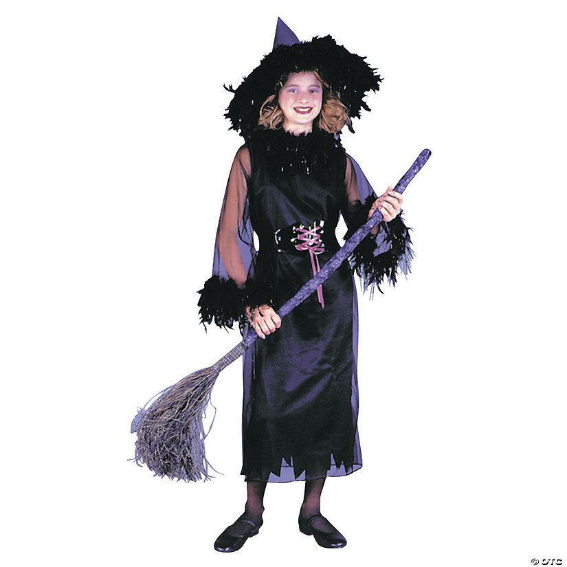 Girl's Black Feather Witch Costume Audio Thumbnail